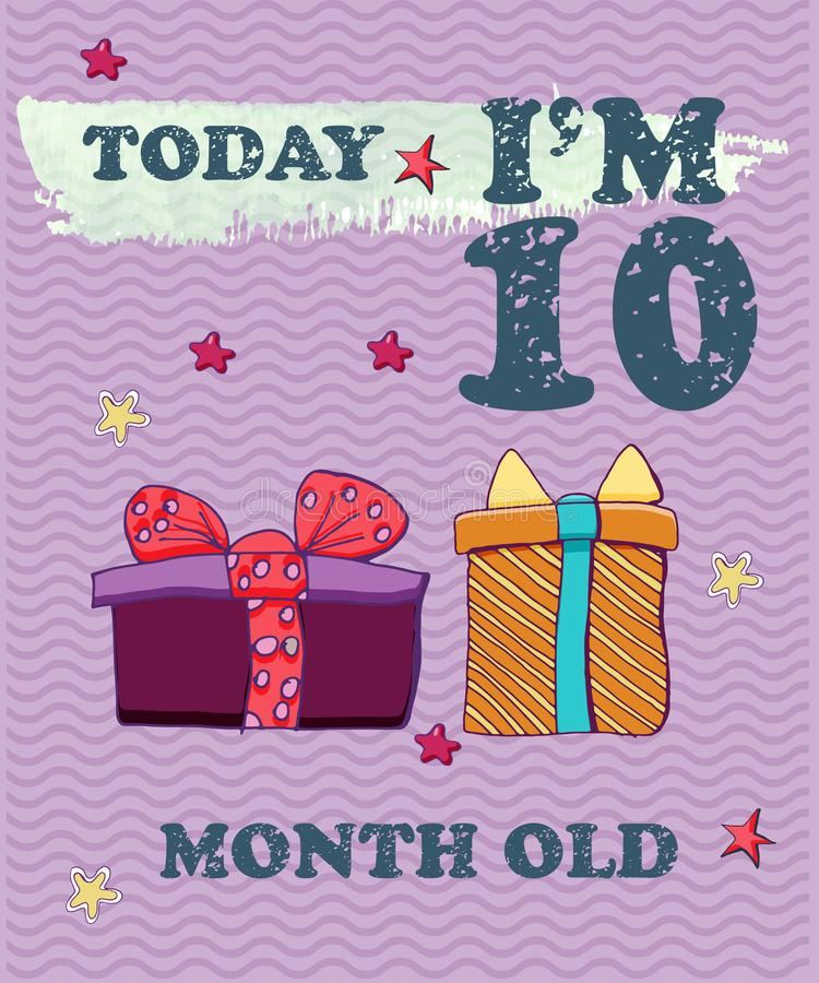 Vector Baby Milestone Card For Girl Or Boy.Today I`m 10 ...