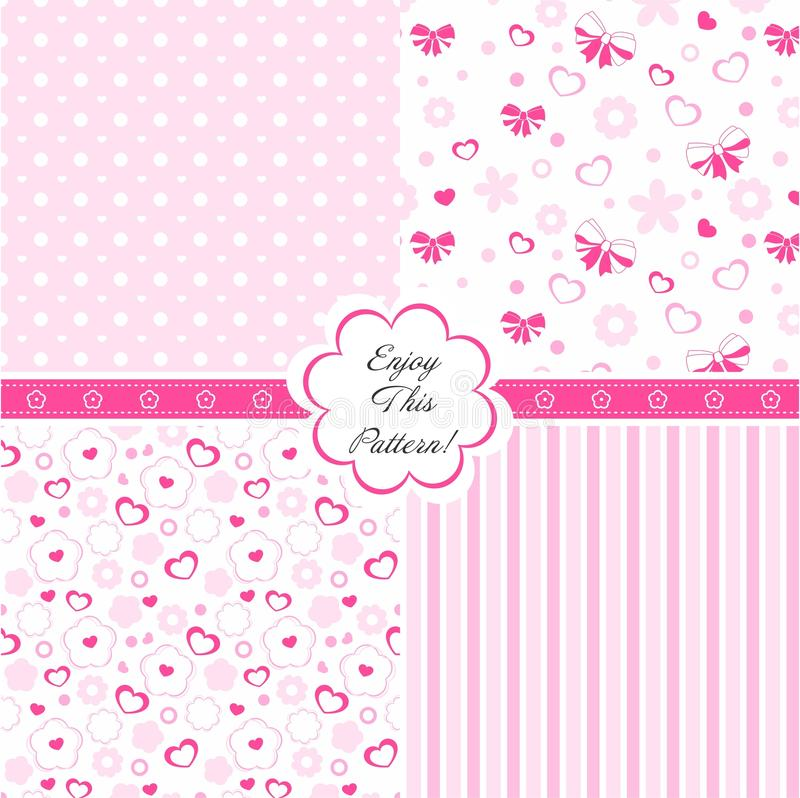 Vector Baby Pattern with flower, bow and heart royalty free stock photos