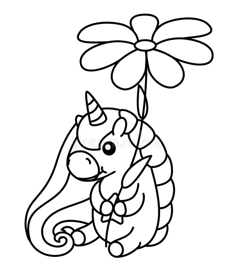Cute Unicorn Simple Cartoon Vector Coloring Book ...