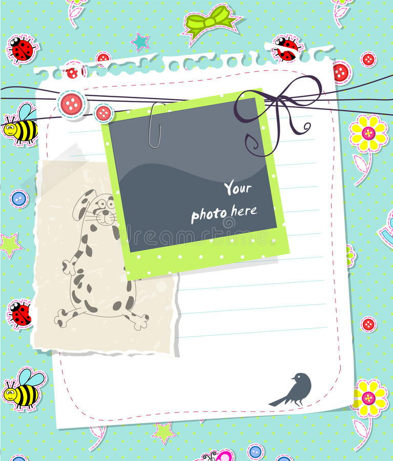 Vector baby scrapbook card with photo frame stock illustration