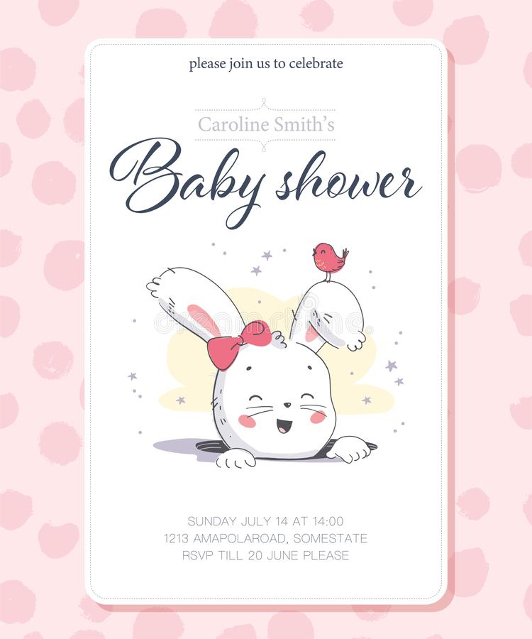 Vector baby shower design template. Cute hand drawn little bunny girl character in hole. royalty free illustration