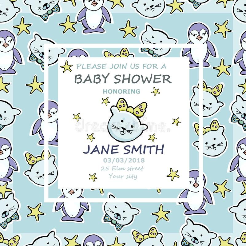 Vector baby shower greeting card. Text It`s a baby girl. Little royalty free illustration