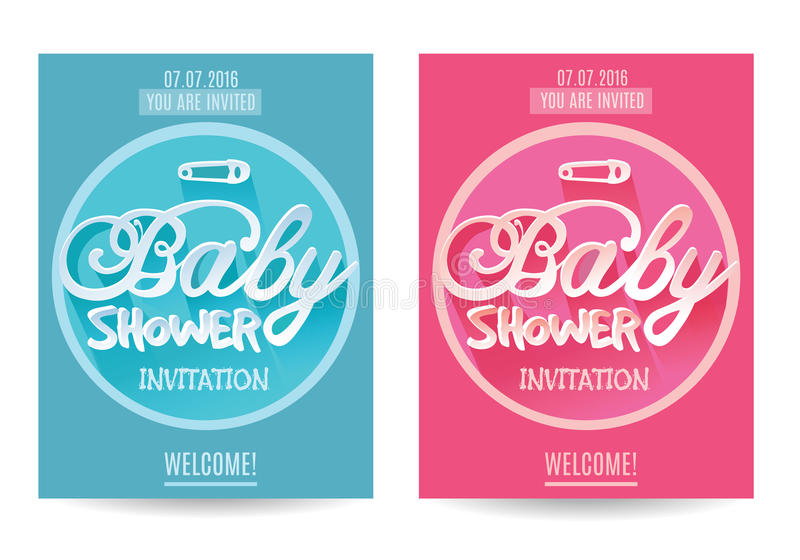 Vector baby Shower Invitation for Boy and Girl . Blue and Pink. Isolated on White Background vector illustration