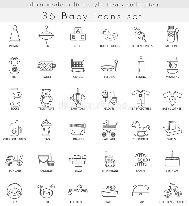 Vector Baby ultra modern outline line icons for web and apps. royalty free illustration