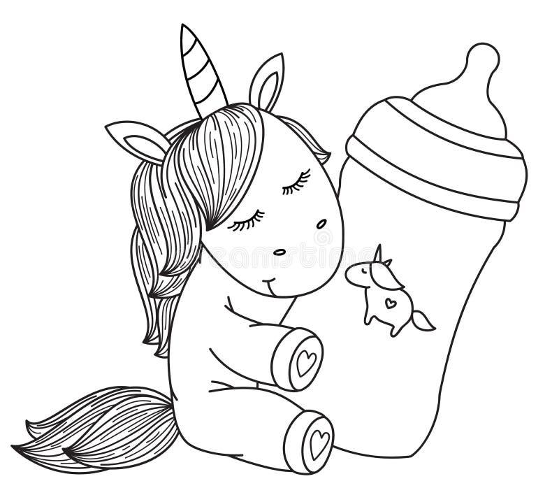 Vector   baby unicorn cartoon holding bottle, black silhouette. Vector   baby unicorn cartoon holding bottle, black silhouette for coloring royalty free illustration