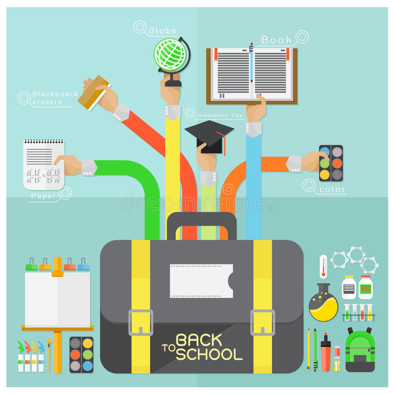 Vector Back to school and flat design modern School Supplies illustr. Vector Back to school flat design modern School Supplies illustration background stock illustration