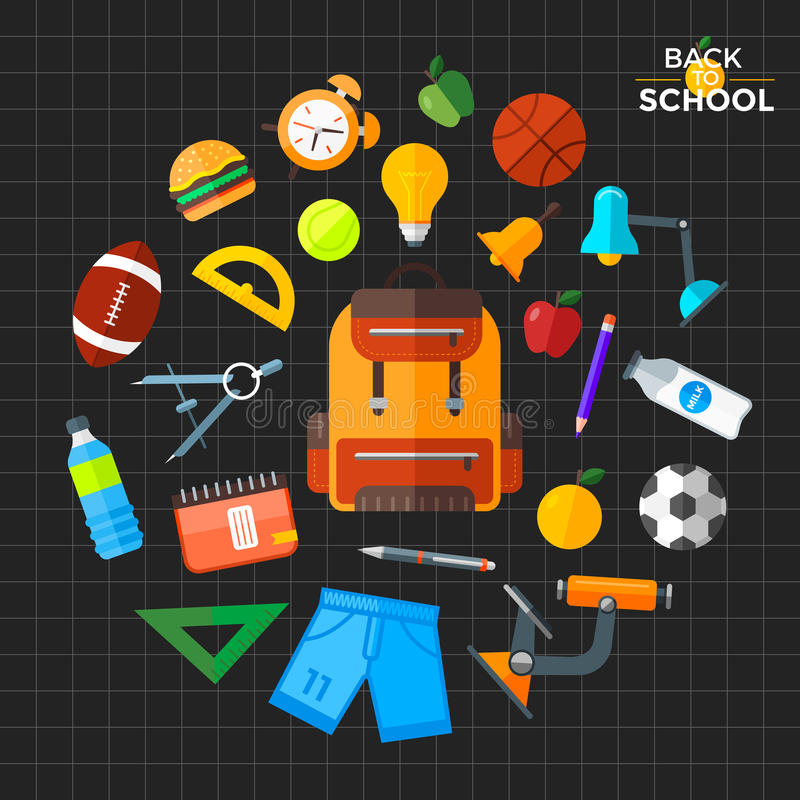 Vector back to school icons set. Suitable for banners, print media and web design royalty free stock images