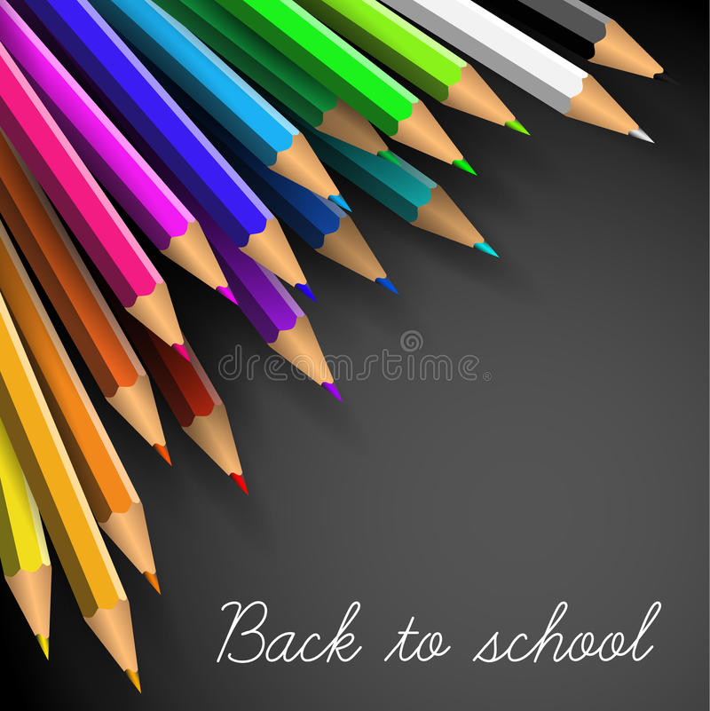 Vector Back to school poster. Colorful crayons on white paper vector illustration