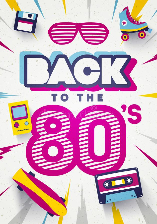 Free Vector Back To The 80`s Colorful Retro Background. Eighties Graphic Poster And Banner Template. Royalty Free Stock Image - 142325626