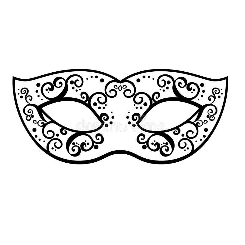 Vector back venetian carnival mardi gras party mask. Vector illustration stock illustration