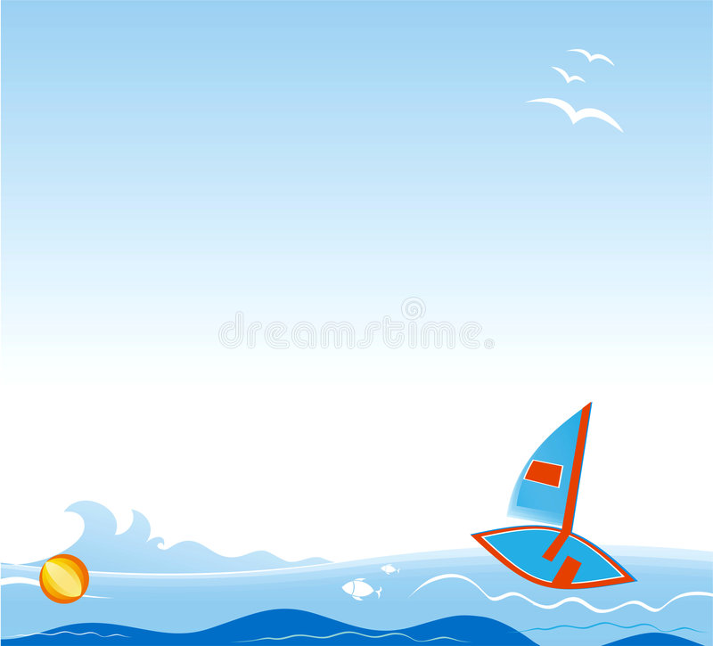 Vector backdrop with sailing boat. vector illustration