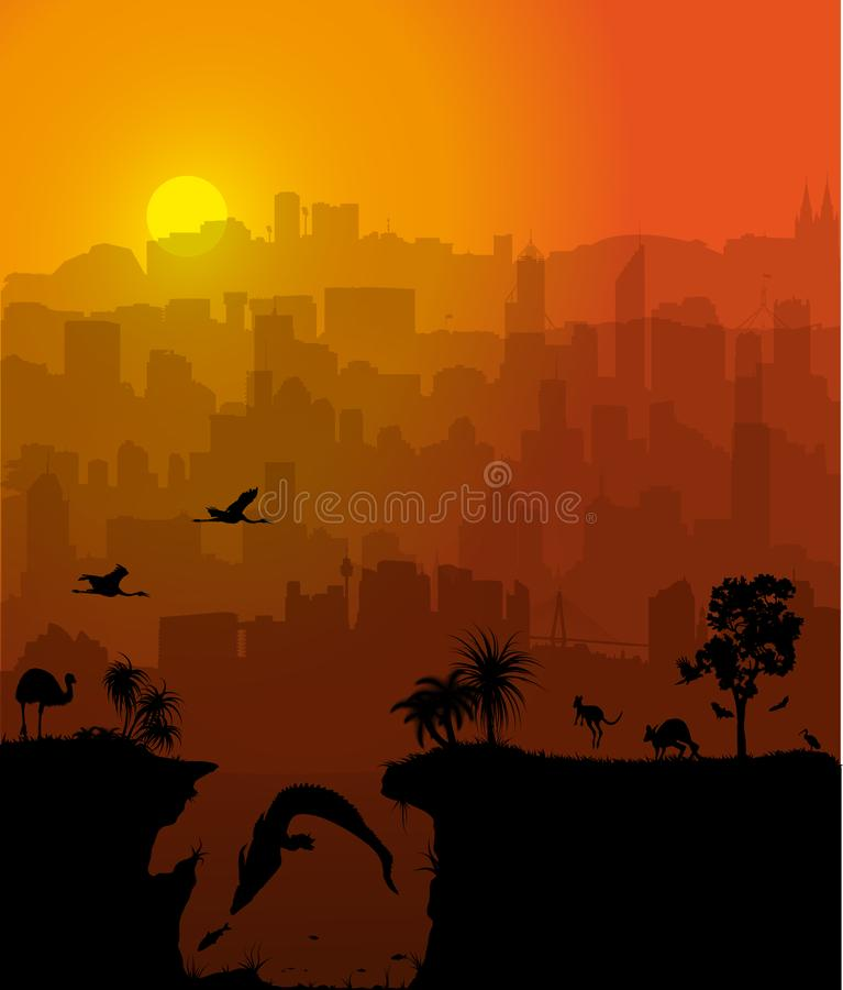 Vector background with Australian cities and wildlife silhouettes stock illustration