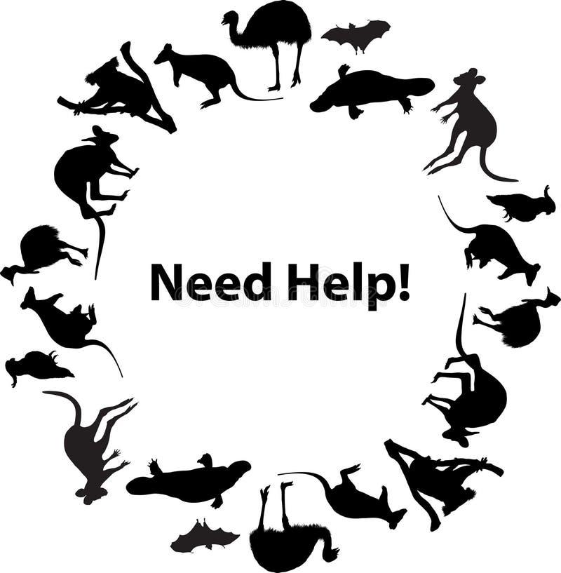 Australian fauna circular frame Need Help illustration vector illustration
