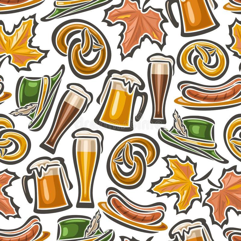 Vector background bavarian seamless pattern oktoberfest. White Background wallpaper - symbols Oktoberfest: glass mug beer, pretzel, tyrolean hat, maple leaf royalty free illustration