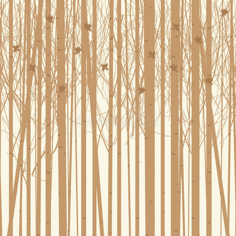 Vector background birch trees with birds stock illustration