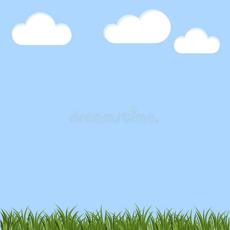 Vector background of blue sky and green grass. Illustration of a daytime landscape. Spring nature. Stock Photo. Vector background of blue sky and green grass royalty free illustration