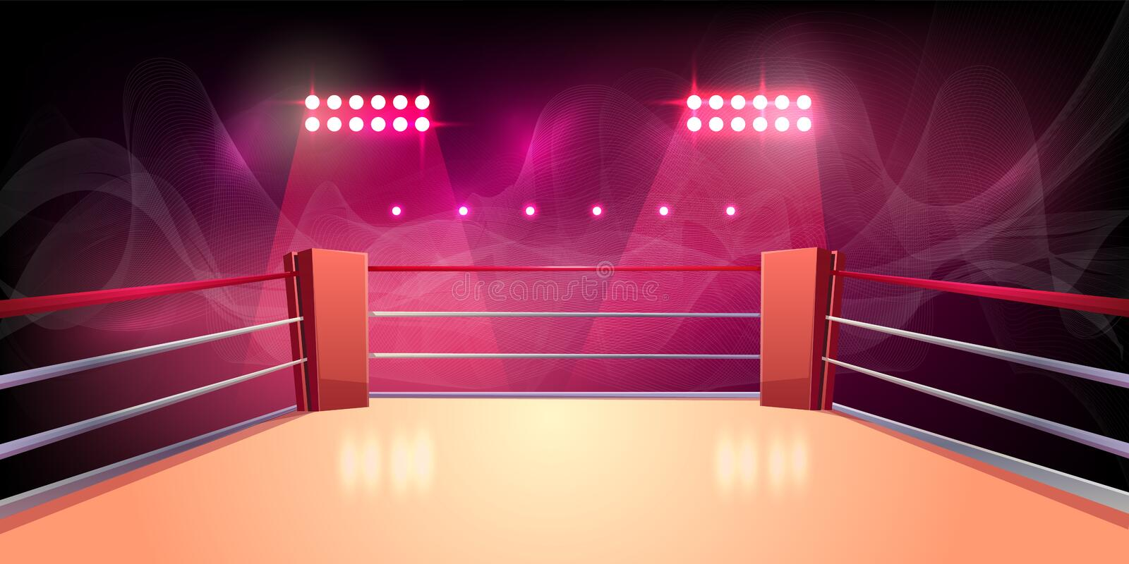 Vector background of boxing ring, illuminated arena vector illustration