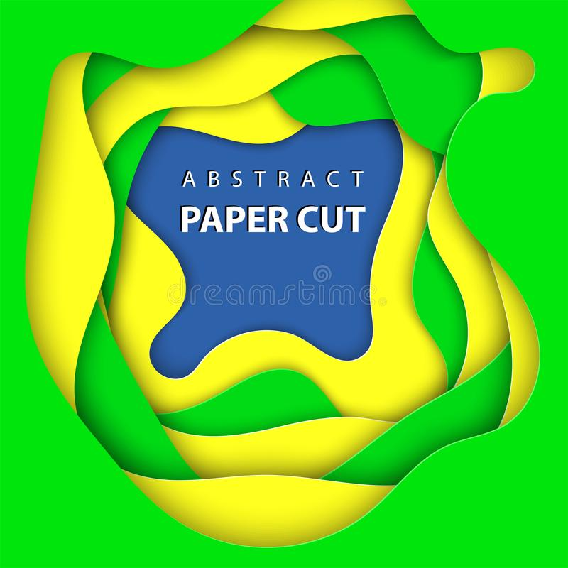 Vector background with brazilian flag colors paper cut shapes. vector illustration