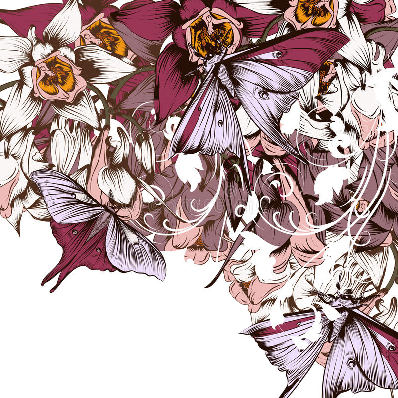 Vector background with butterflies and flowers filigree drawn il. Floral vector background with butterflies and flowers filigree drawn illustration royalty free illustration