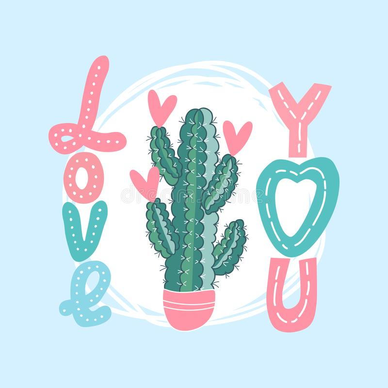 Vector background for a card with cactus, hearts and the words `love you`. template for Valentine`s day greeting card stock illustration