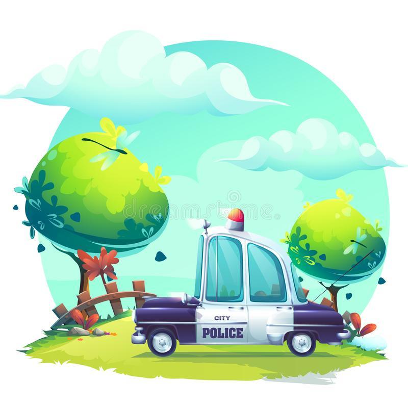 Vector background cartoon image Pin-up police car stock illustration
