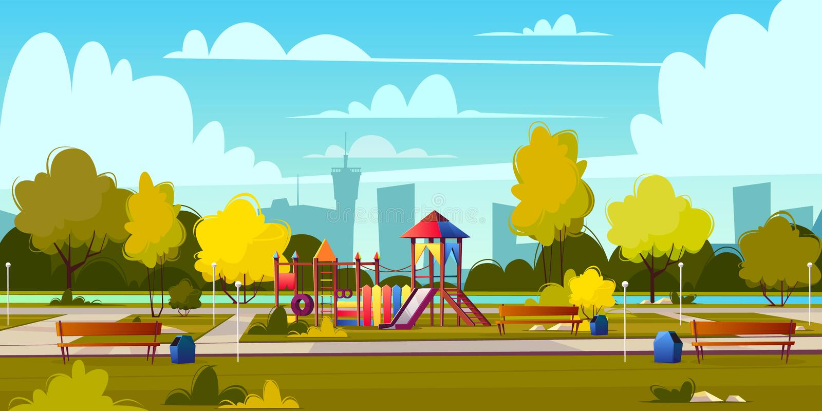 Vector background of cartoon playground in park stock illustration
