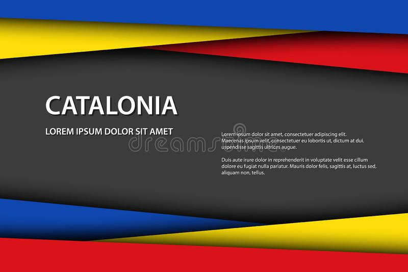 Vector background with Catalan colors and free grey space for your text, Catalan flag, Made in Catalonia. Catalan icon and symbol stock illustration