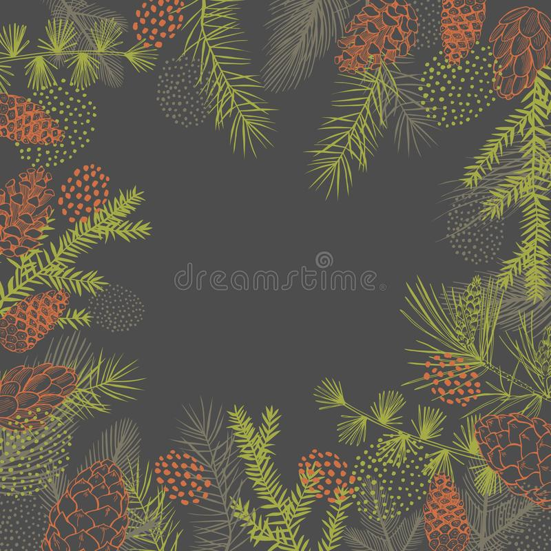 Vector background  with Christmas plants. Hand-drawn ilustration royalty free illustration
