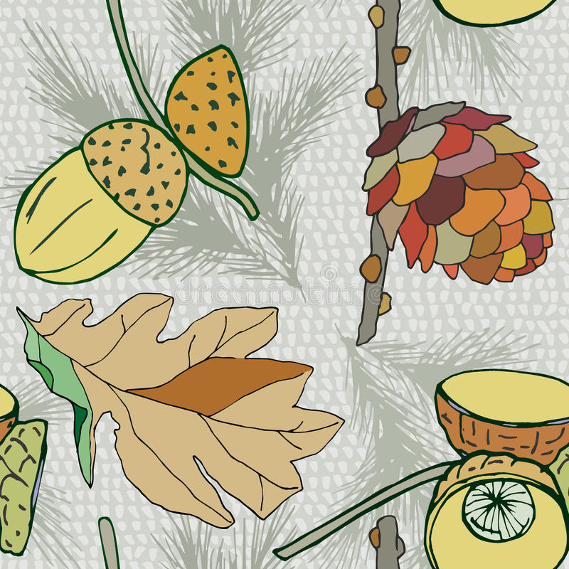 Vector background with cone and acorns and leaves, autumn background, decorative seamless plants stock illustration