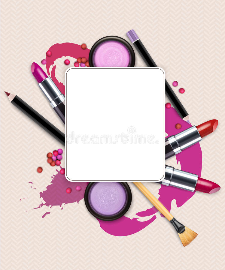 Vector Background With Cosmetics And Make Up Flyer Template Stock