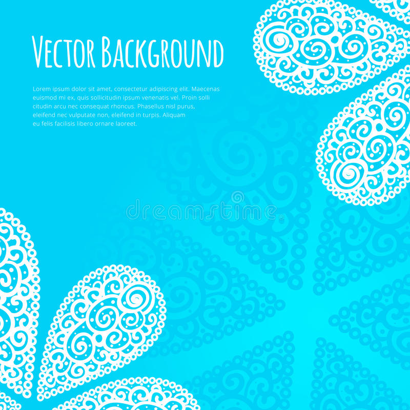 Vector background with cute cashmere pattern. White paisley styled ornament on blue banner layout. Vector background with cute cashmere pattern design vector illustration