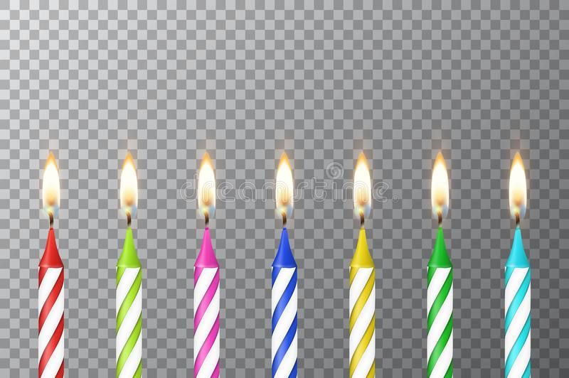 Vector background with 3d realistic different birthday party colofful wax paraffin burning cake candle set closeup royalty free illustration