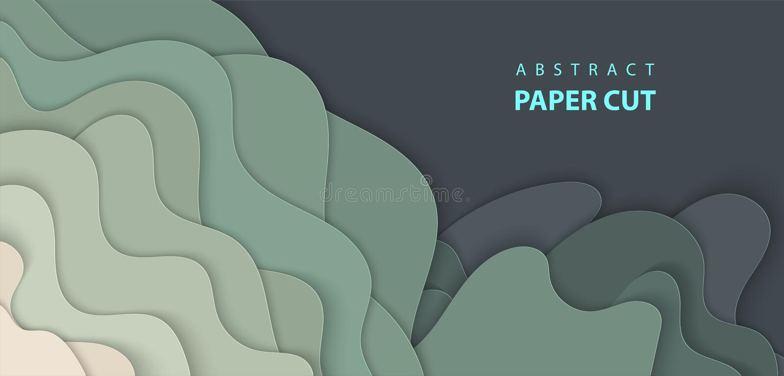 Vector background with dark green color paper cut shapes. vector illustration