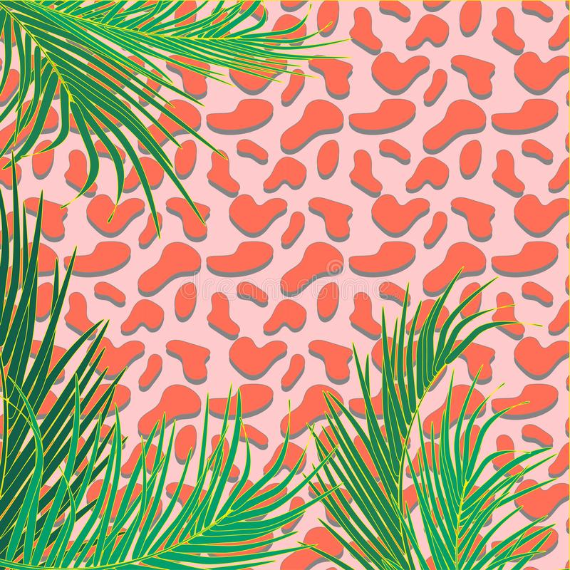 Vector background with decorative topical palm leaves on decorative background of leopard print. Bright and pastel trendy colors. vector illustration