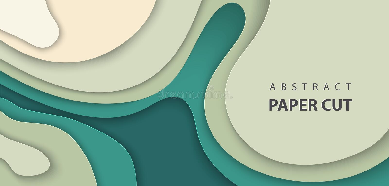 Vector background with deep green color paper cut waves shapes. 3D abstract paper art style, design layout vector illustration