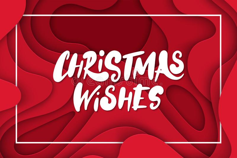 Vector background with deep red color paper cut shapes. 3D abstract Christmas Wishes lettering, design layout for greeting cards, stock illustration