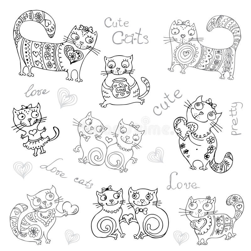 Vector background with different cute animals,objects stock illustration