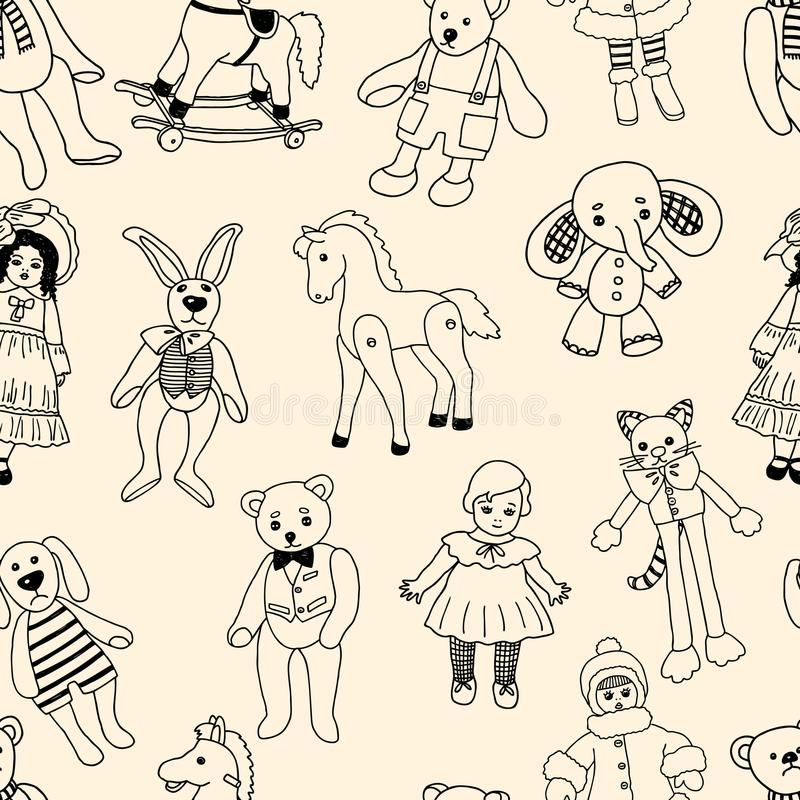 Pattern of the various old toys. Vector background of the different vintage toys stock illustration