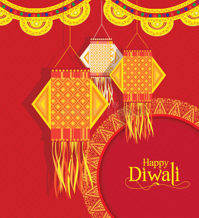 Download Vector Background For Diwali Festival With Hanging Lamps Stock