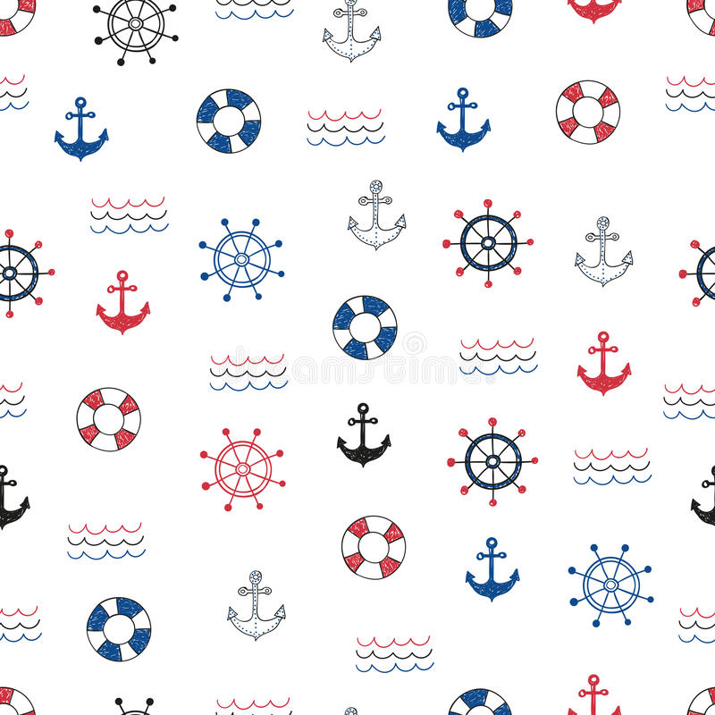Vector background with doodle marine symbols. Nautical seamless pattern. Vector background with doodle marine symbols vector illustration