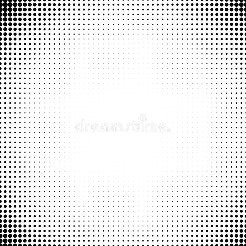 Vector background of dots in the corners of the image. Black digital vignette in cartoon style for comics. Vector background of dots in the corners of the image stock illustration