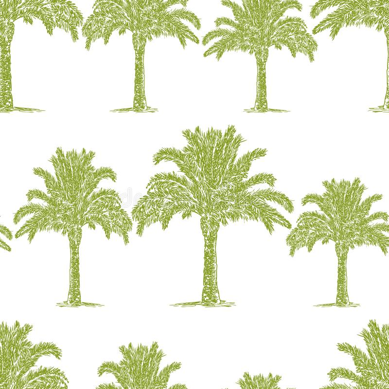 Seamless pattern of sketches of palm trees stock illustration
