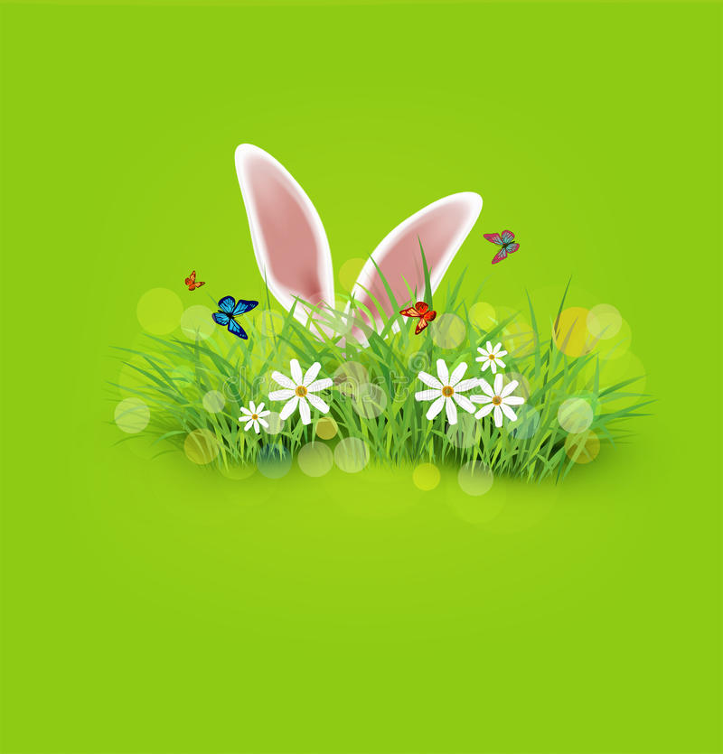 Vector background for Easter. Rabbit ears sticking out stock illustration