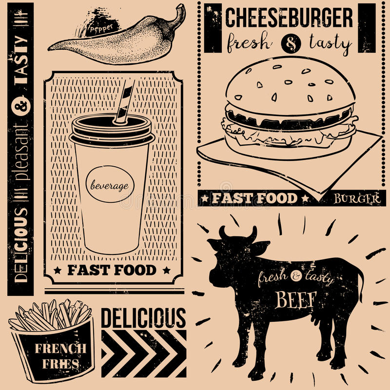 Vector background with fast food symbols. Menu pattern royalty free illustration