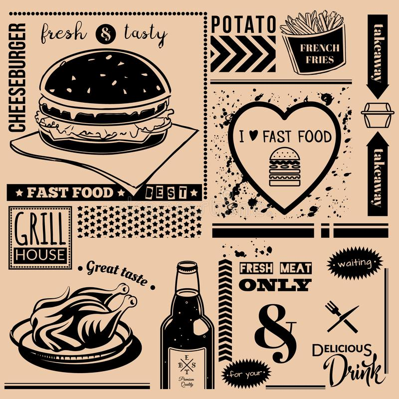 Vector background with fast food symbols. Menu pattern. Vector Illustration with cheeseburger, grill chicken, french fries, knife,fork and lettering on craft royalty free illustration
