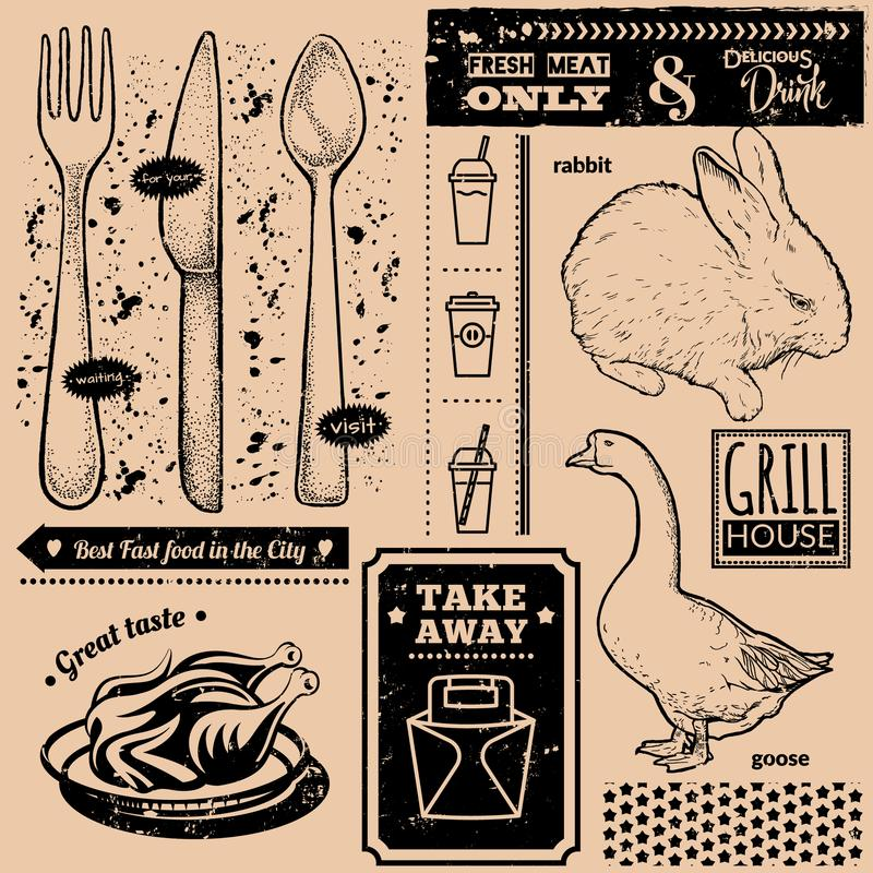 Vector background with fast food symbols. Menu pattern. Vector Illustration with goose, rabbit, grill chicken, spoon, knife,fork and lettering on craft paper royalty free illustration