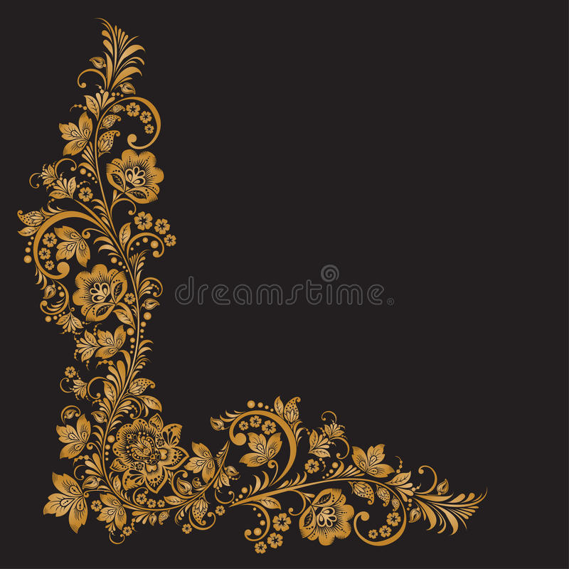 Vector background of floral pattern with traditional russian flower ornament.Khokhloma vector illustration