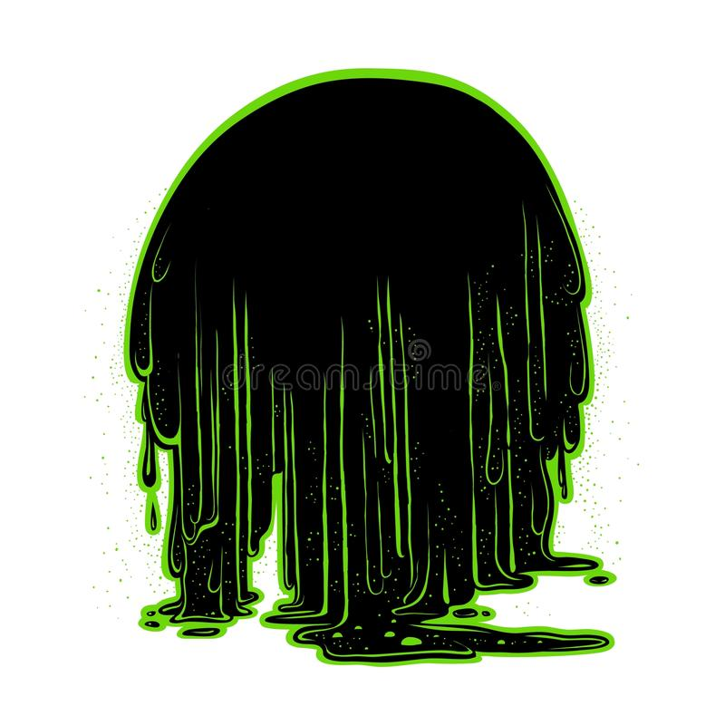 Vector background the flow of luminescent glowing green radioactive sludge. Figure terrible stringy black mass, flowing. Down in large drops. Holiday Halloween stock illustration