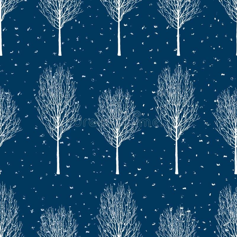Vector background of frozen trees stock illustration