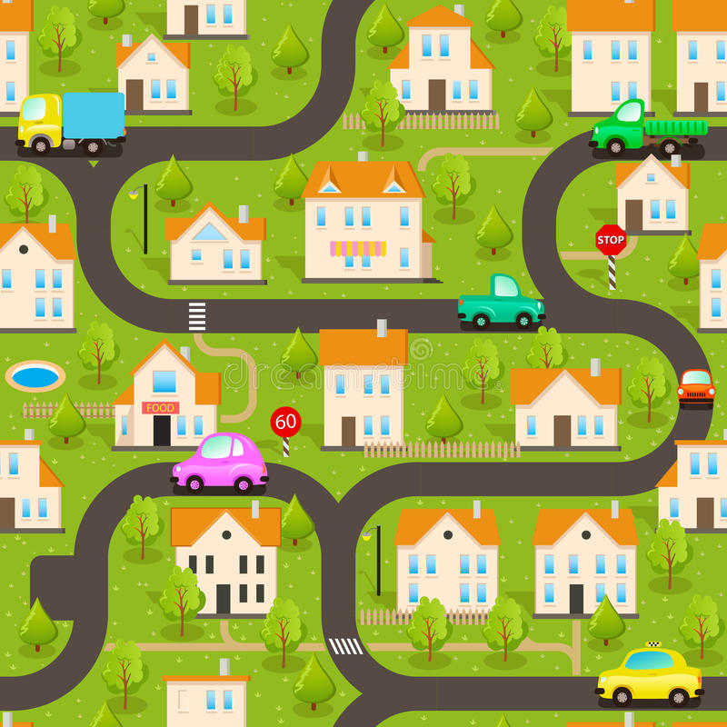 Vector Background. Funny Wallpaper: Small Town stock illustration